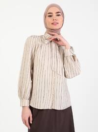 Beige - Stripe - Point Collar - Blouses
