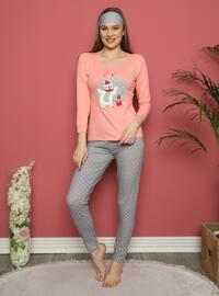 Salmon - Crew neck - Polka Dot - Pyjama Set