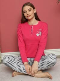 Fuchsia - Crew neck - Polka Dot - Pyjama Set