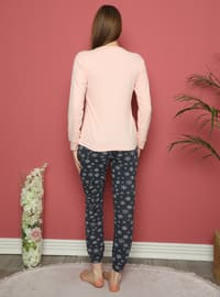 Salmon - Crew neck - Multi - Pyjama Set
