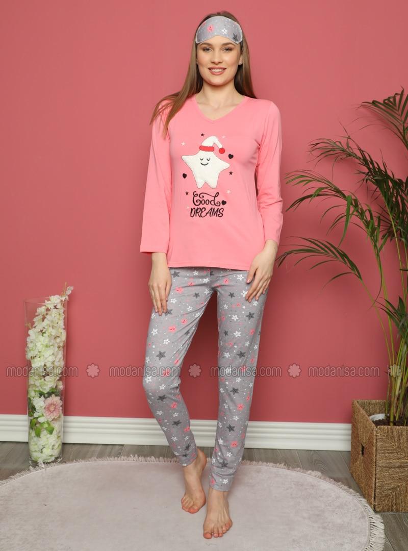 Coral - V neck Collar - Multi - Pyjama Set