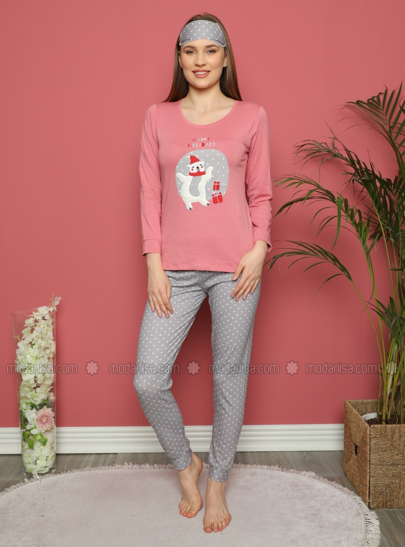 Rose - Crew neck - Polka Dot - Pyjama Set