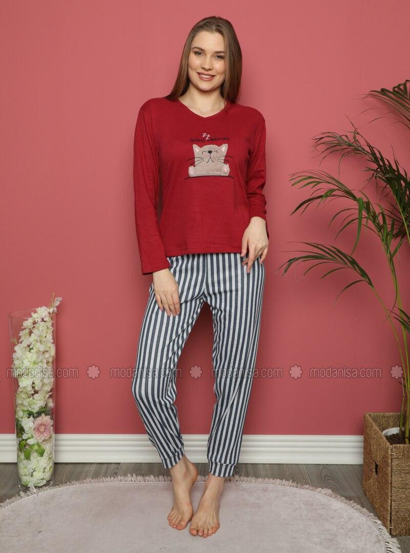 Maroon - V neck Collar - Stripe - Pyjama Set