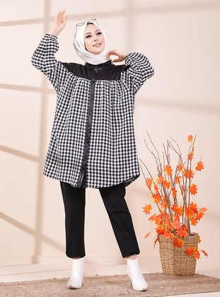 Ecru - Houndstooth - Point Collar - Tunic