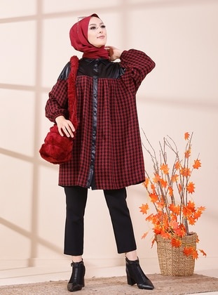 Maroon - Black - Houndstooth - Point Collar - Tunic