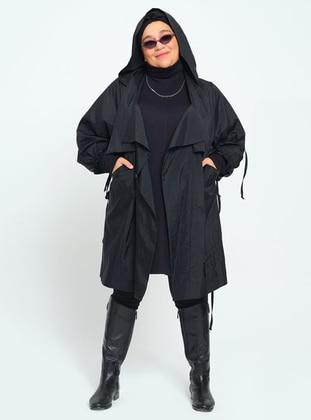 Black - Unlined - Plus Size Trench coat - MANİLA