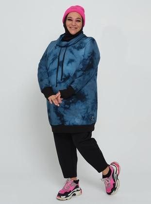 Blue - Plus Size Sweatshirts - MANİLA