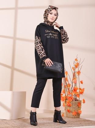 Leopard - Black - Sweat-shirt - Tofisa