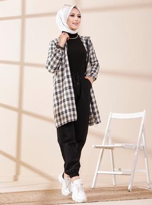 Ecru - Khaki - Checkered - Tunic