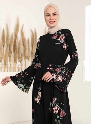 Spanish Sleeves Patterned Dress - Black