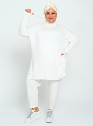 White - Unlined - Polo neck - Plus Size Knit Jumpers