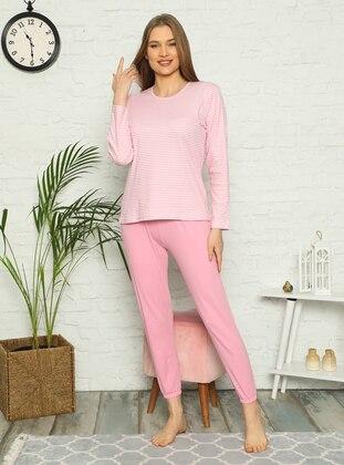 Pink - Crew neck - Stripe - Pyjama Set