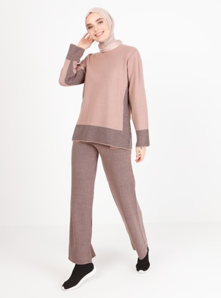 Dusty Rose - Houndstooth - Unlined - Knit Suits