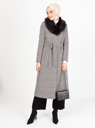 White - Black - Fully Lined - Shawl Collar - Coat
