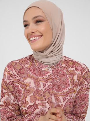 Pink - Shawl - Polo neck - Fully Lined - Modest Dress
