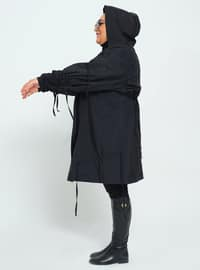 Black - Unlined - Plus Size Trench coat