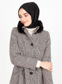 White - Black - Houndstooth - Fully Lined - V neck Collar - Coat
