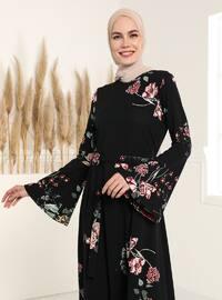 Spanish Sleeves Patterned Dress - Black