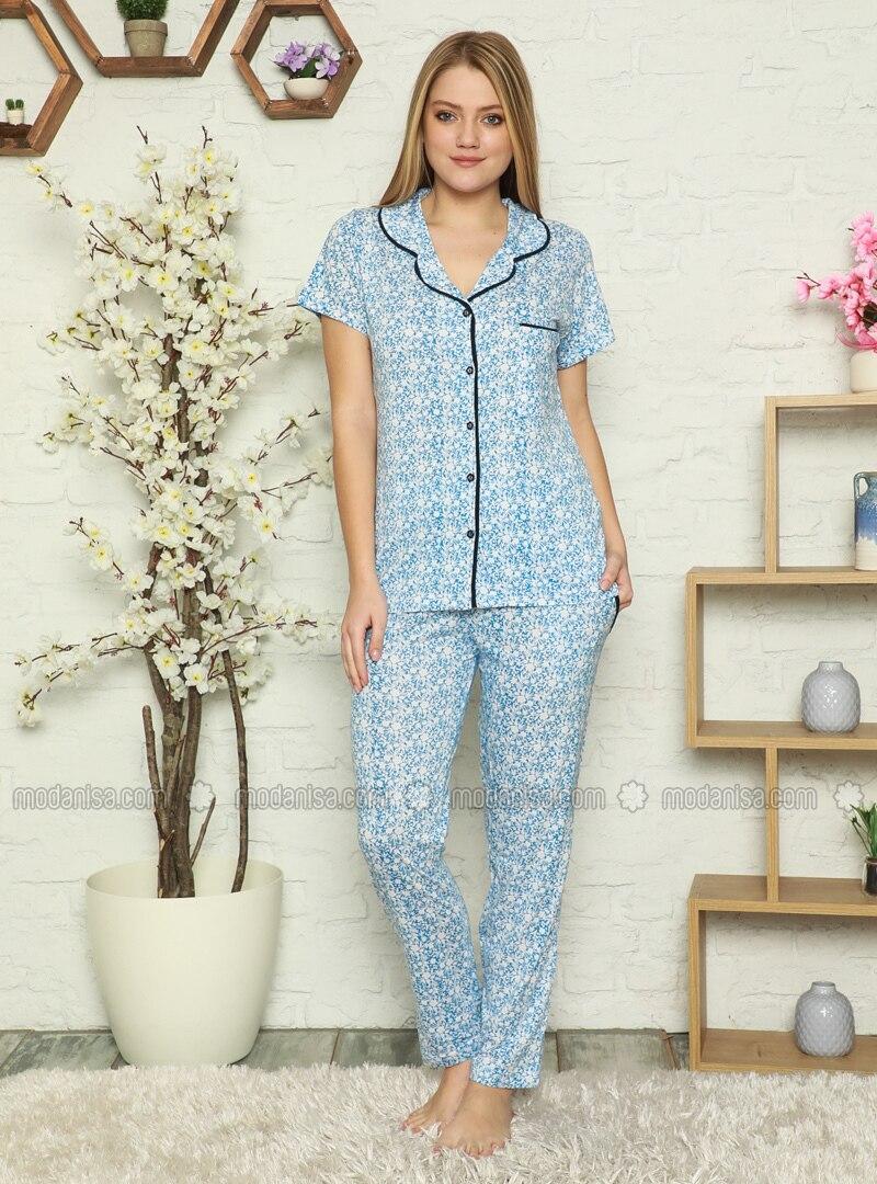 Blue - Multi - Pyjama Set