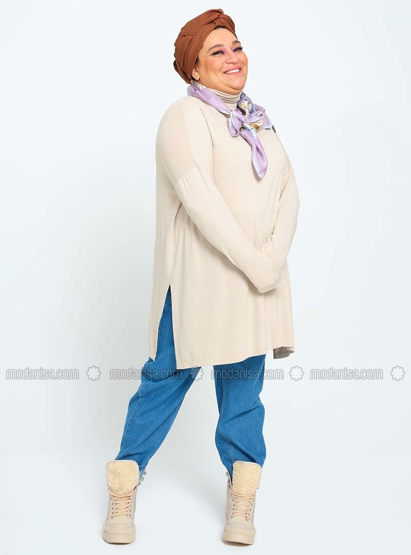 Mink - Unlined - Polo neck - Plus Size Knit Jumpers