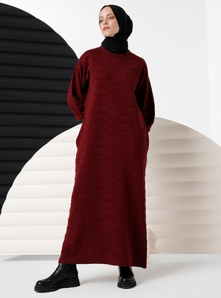 Maroon - Unlined - Crew neck - Knit Dresses - İnşirah