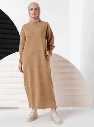 Camel - Unlined - Crew neck - Knit Dresses - İnşirah