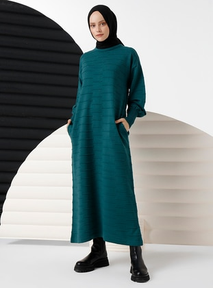 Green - Unlined - Crew neck - Knit Dresses
