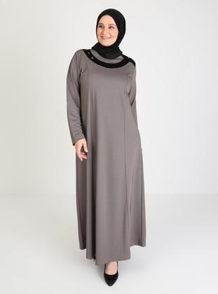 Mink - Jacquard - Crew neck - Unlined - Modest Dress