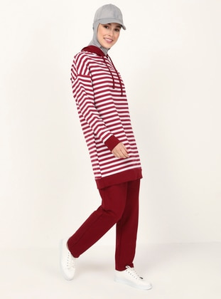 Maroon - Stripe - Unlined - Suit