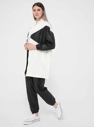 White - Ecru - Black - Unlined - Polo neck - Plus Size Coat