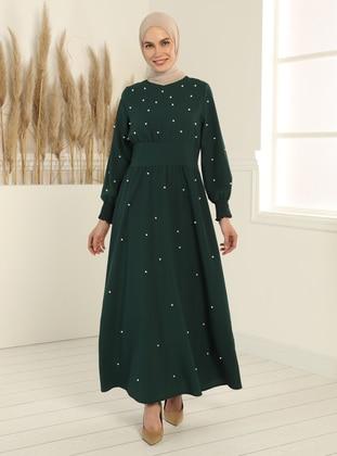 Emerald - Crew neck - Unlined - Modest Dress