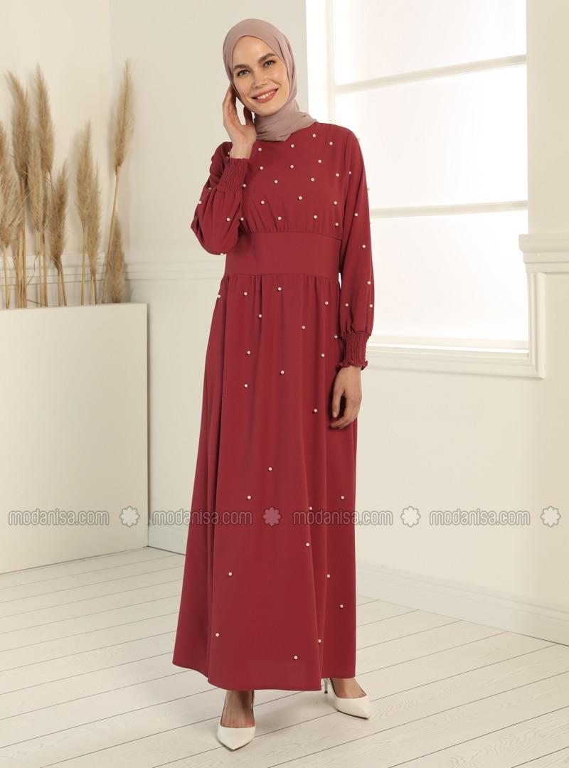 Dusty Rose - Crew neck - Unlined - Modest Dress