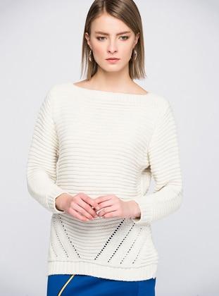 Ecru - Unlined - Knit Sweaters