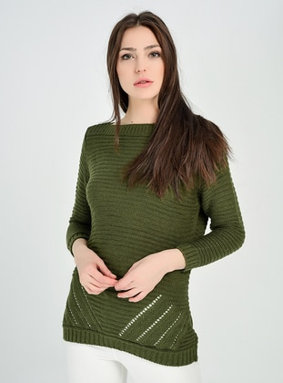 Khaki - Unlined - Knit Sweaters