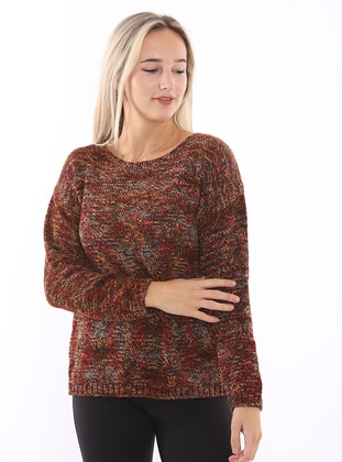 Purple - Unlined - V neck Collar - Knit Sweaters