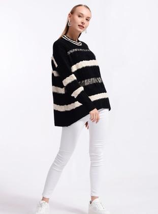 Black - Crew neck - Knit Sweaters - Nefise