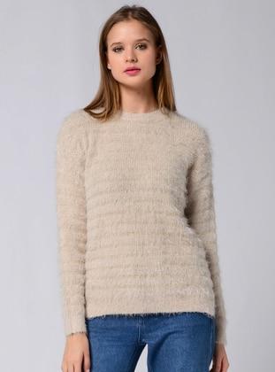 Beige - Unlined - Crew neck - Knit Sweaters