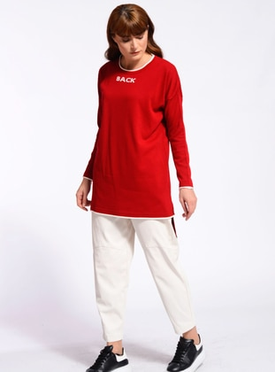 Red - Crew neck - Unlined - Knit Tunics