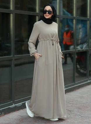 Beige - Round Collar - Unlined - Dress