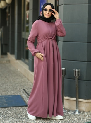 Dusty Rose - Round Collar - Unlined - Modest Dress