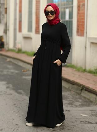 Black - Round Collar - Unlined - Modest Dress