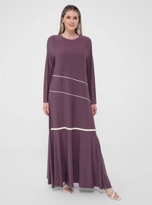 White - Ecru - Purple - Unlined - Crew neck - Plus Size Dress