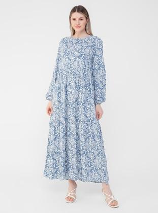 Ice Blue - Multi - Unlined - Crew neck - Plus Size Dress - Alia