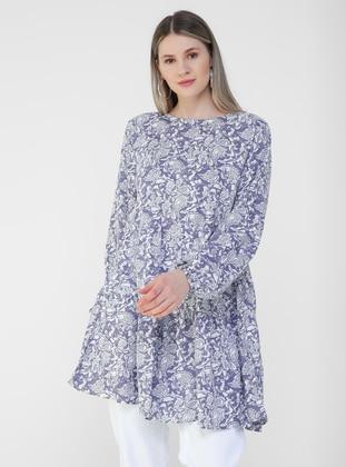 Lilac - Multi - Crew neck - Plus Size Tunic - Alia