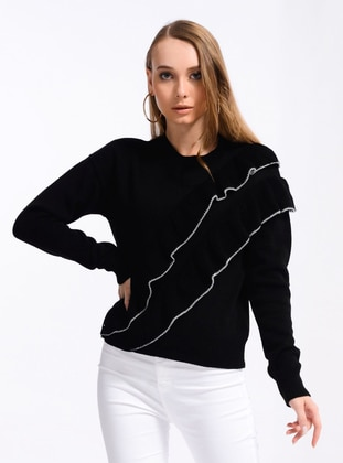 Black - Unlined - Crew neck - Knit Sweaters