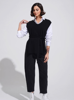 Black - Unlined - V neck Collar - Knit Sweaters