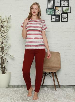 Maroon - Crew neck - Stripe - Pyjama Set