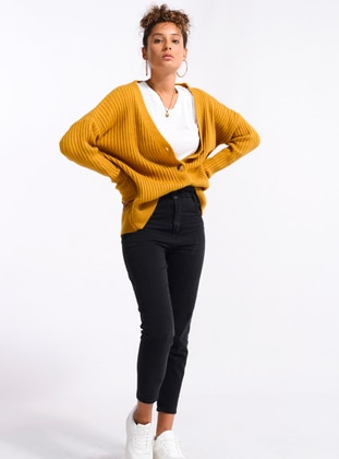 Mustard - Unlined - Knit Jackets - Nefise