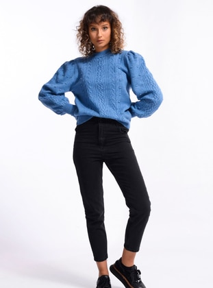 Indigo - Unlined - Crew neck - Knit Sweaters