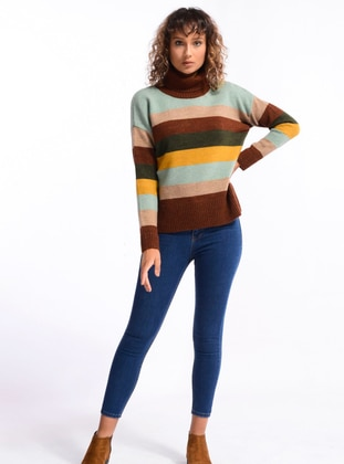 Brown - Unlined - Polo neck - Knit Sweaters